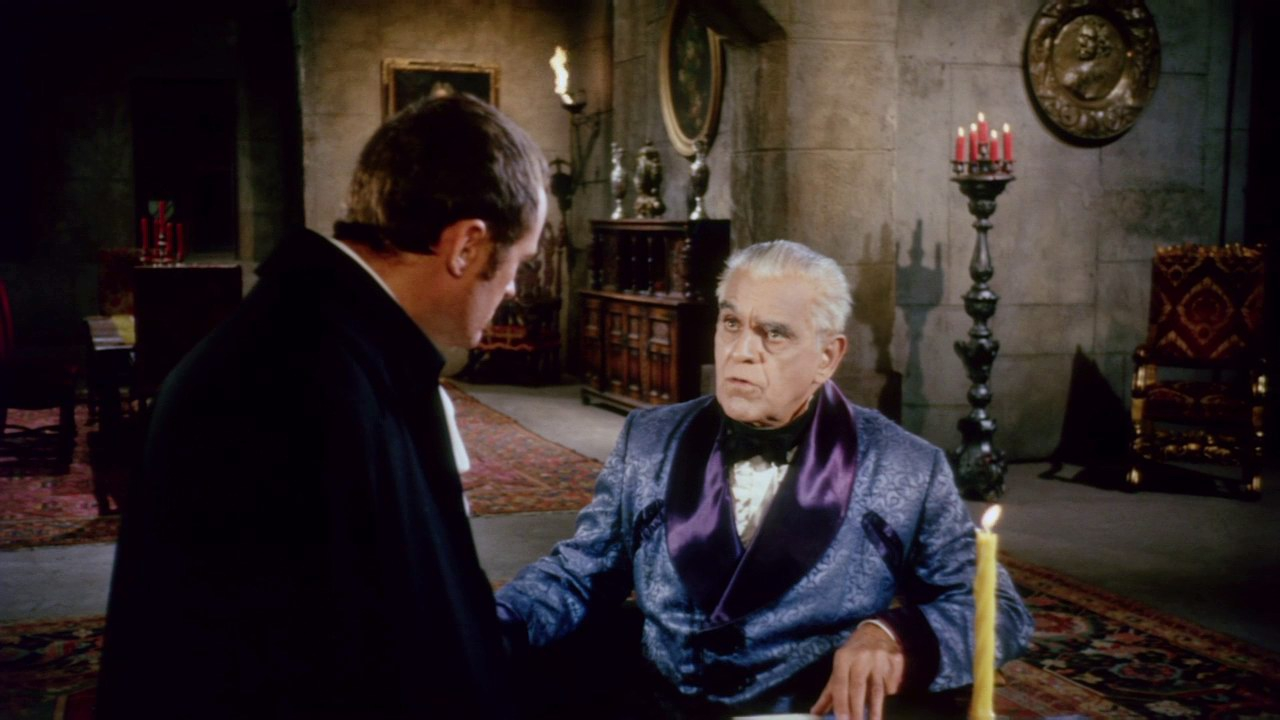 (l to r) Dick Miller and Baron von Leppe (Boris Karloff) in The Terror (1963)