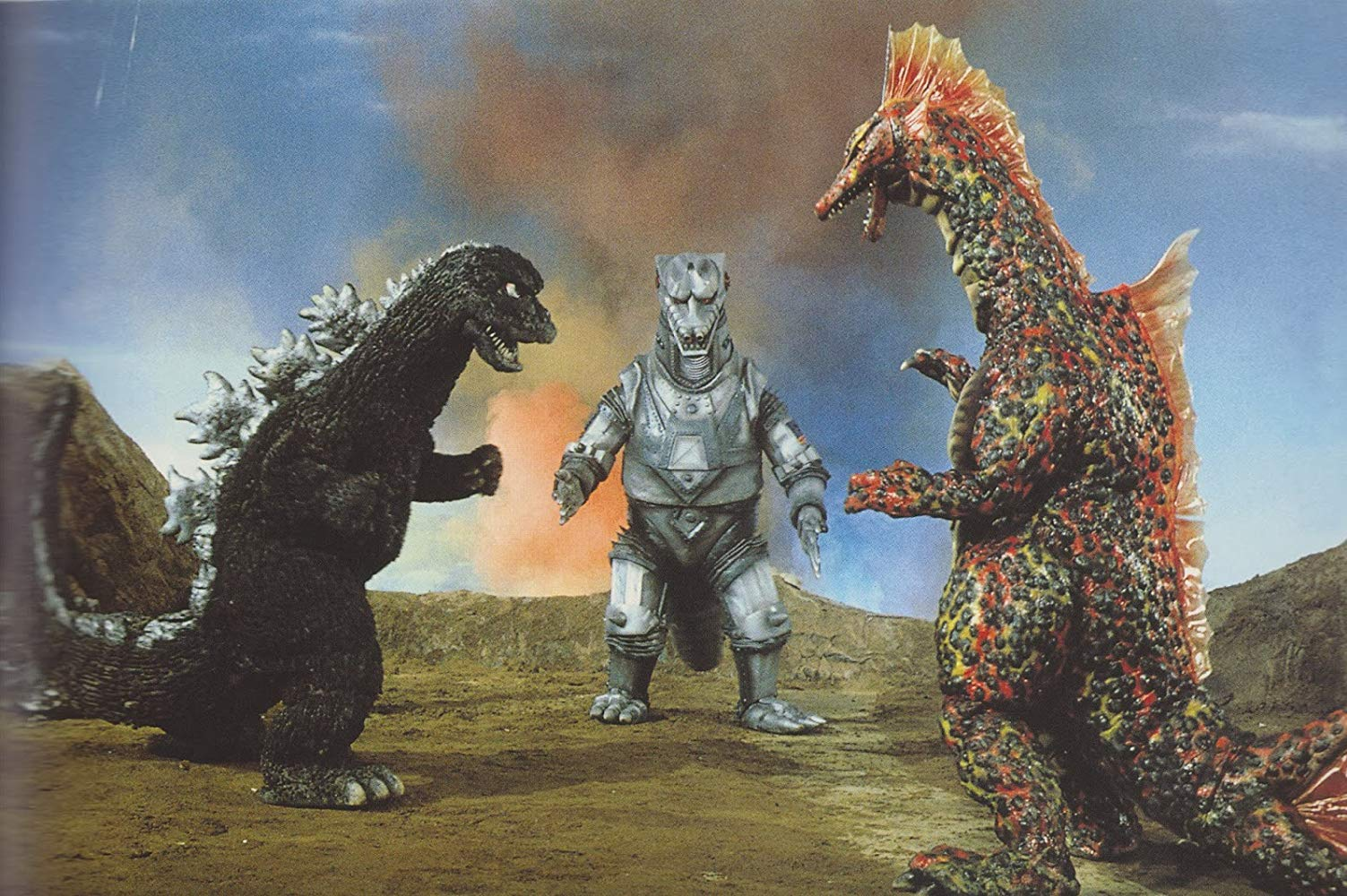Monster line-up - Godzilla, Mechagodzilla, Titanosaurus in Terror of Mechagodzilla (1976)