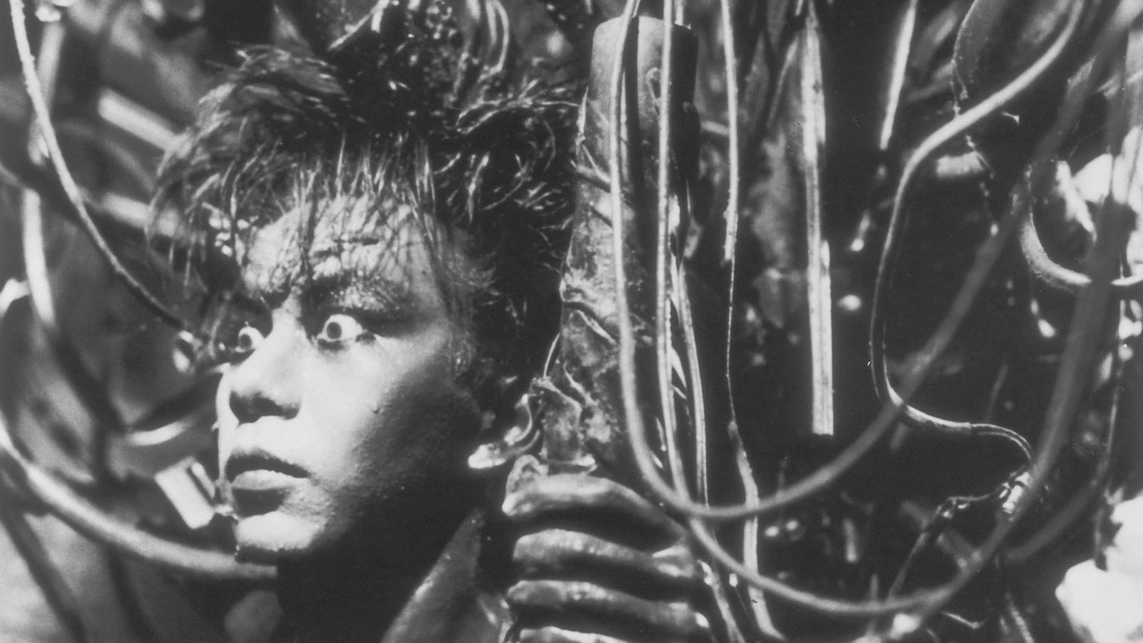 The fusion between man and machine in Tetsuo: The Iron Man (1989)