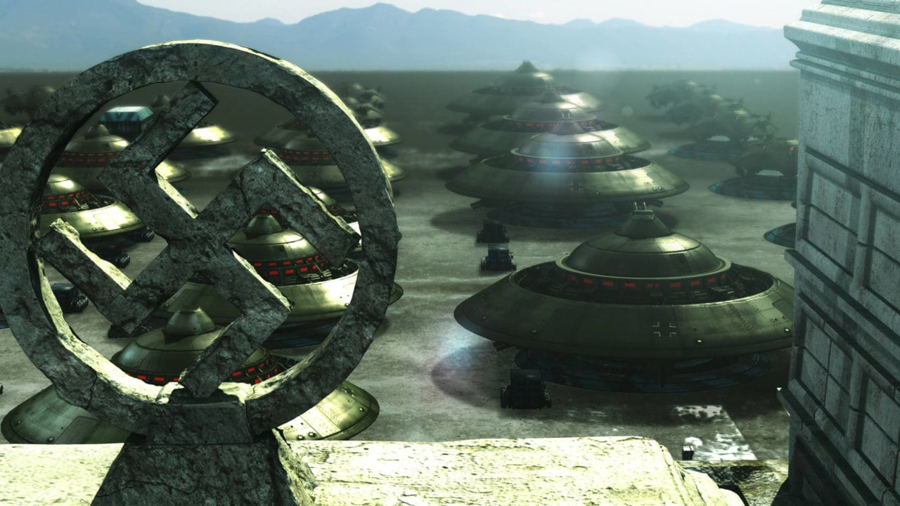 A fleet of UFOs in a Nazi-ruled alternate future in The 25th Reich (2012)