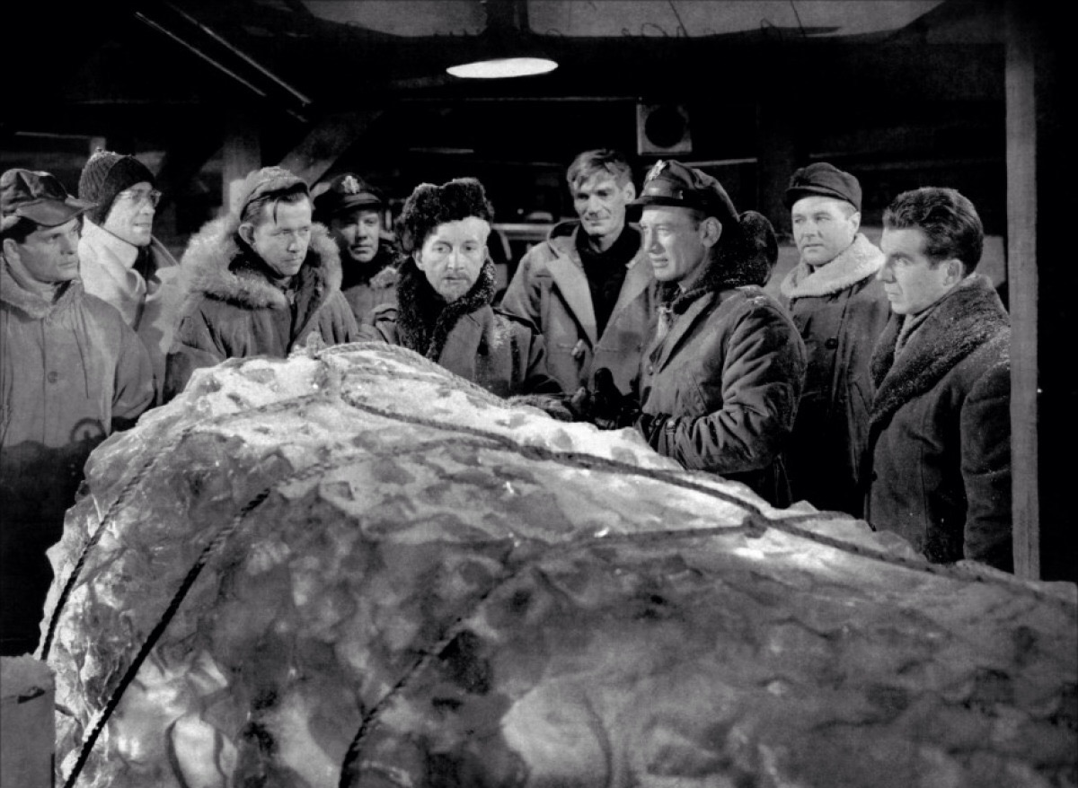 The men prepare to unthaw The Thing with Robert Cornthwaite (centre l) and Kenneth Tobey (centre r) in The Thing from Another World (1951)