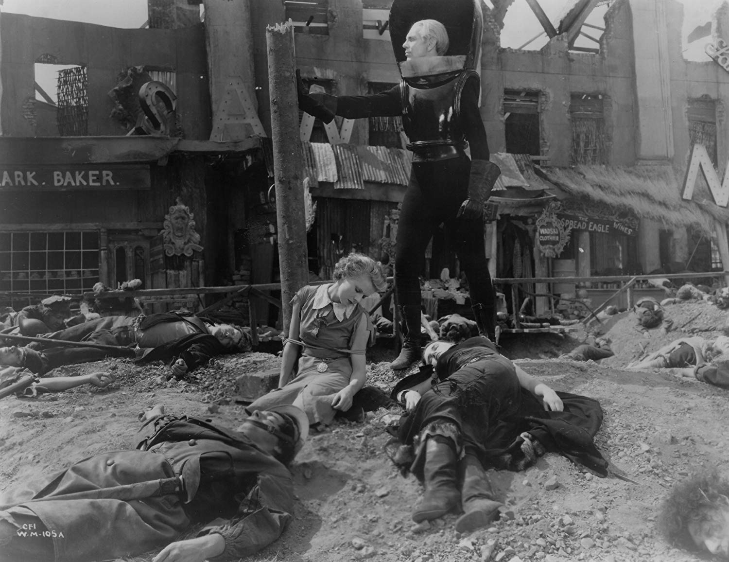 John Cabal (Raymond Massey) walks through the war-devastated ruins of Everytown in Things to Come (1936)