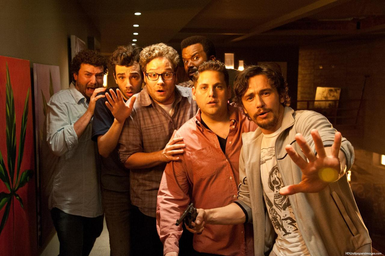 Playing themselves - Danny McBride, Jay Baruchel, Seth Rogen, Craig Robinson, Jonah Hill and James Franco in This is The End (2013)