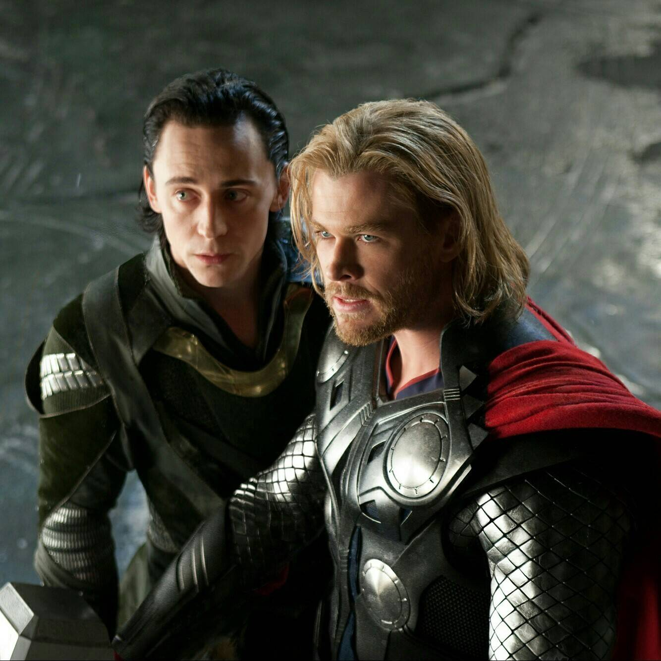 Loki (Tom Hiddleston) and Thor (Chris Hemsworth) in Thor (2011)