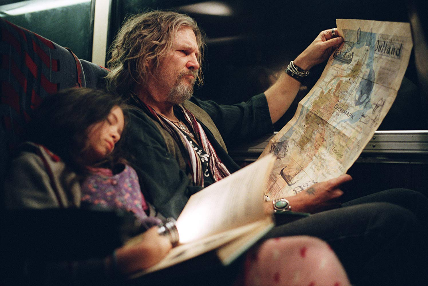 Jodelle Ferland and her father Jeff Bridges travel to their new home in Tideland (2005)
