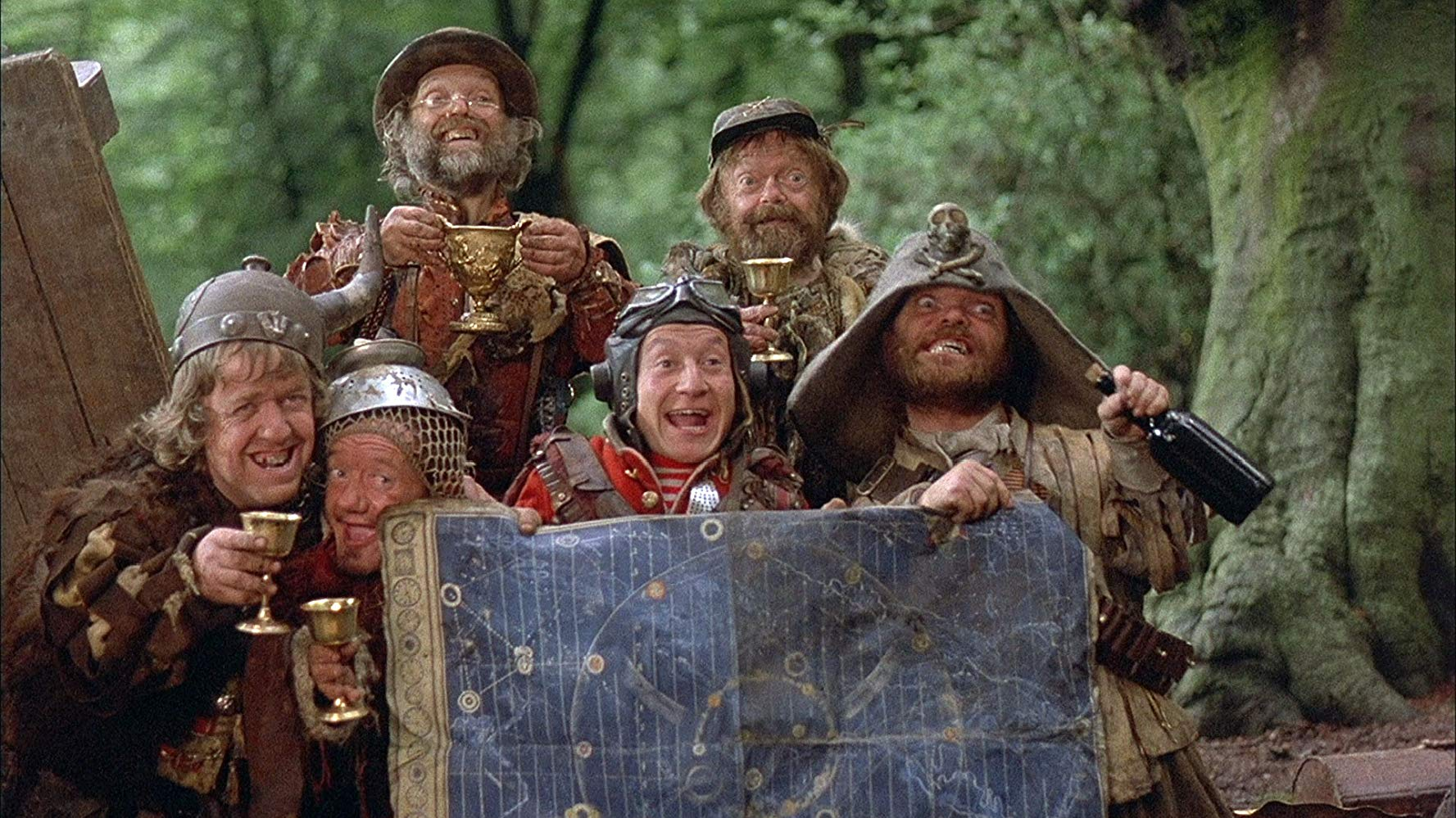 The Time Bandits - (l to r) Mike Edmonds, Kenny Baker, Malcolm Dixon, David Rappaport, Tiny Ross and Jack Purvis in Time Bandits (1981)