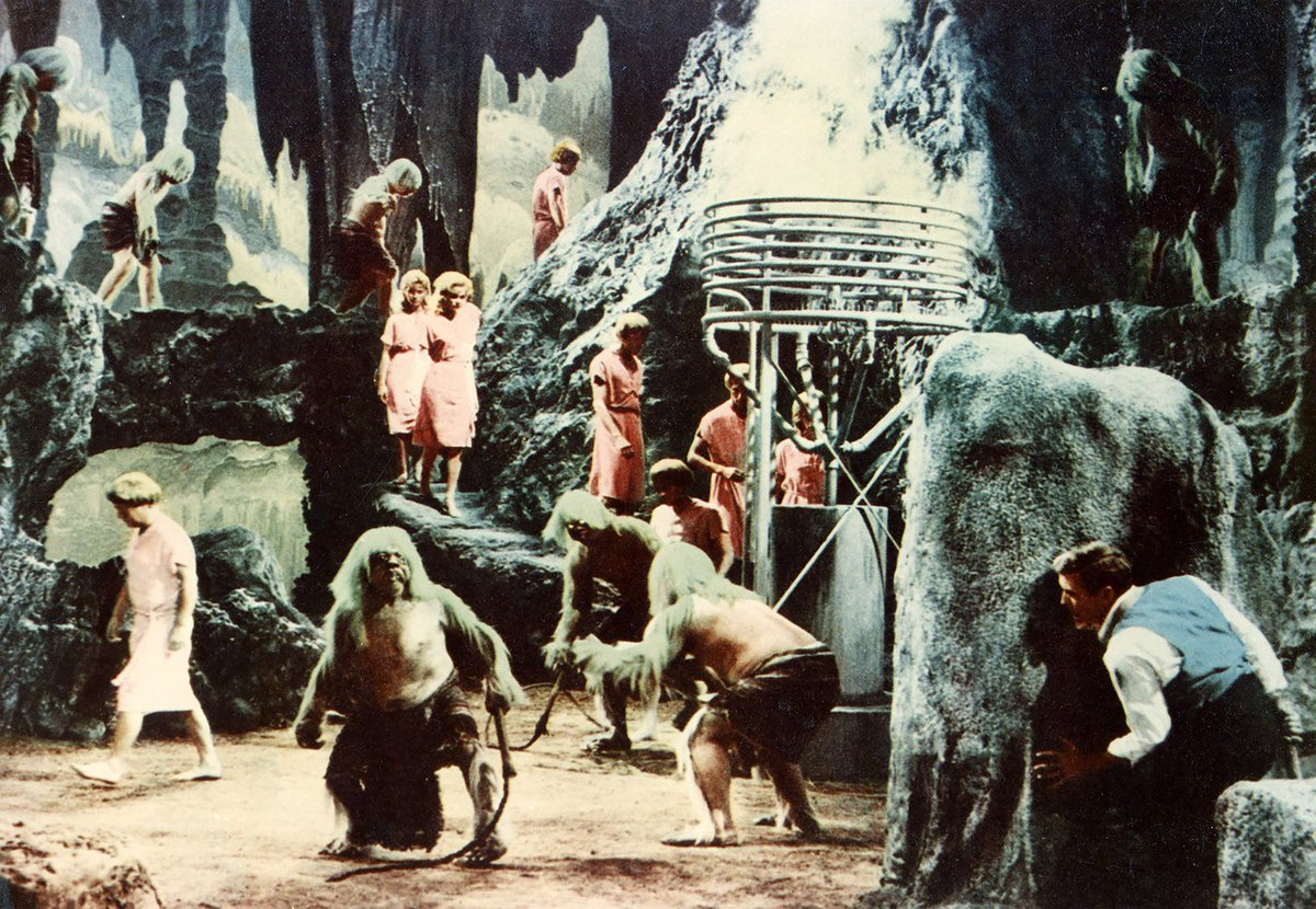 George (Rod Taylor) ventures into the underground realm where the Morlocks enslave the Eloi in The Time Machine (1960)