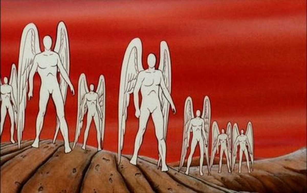 The planet of faceless angels in The Time Masters (1982)