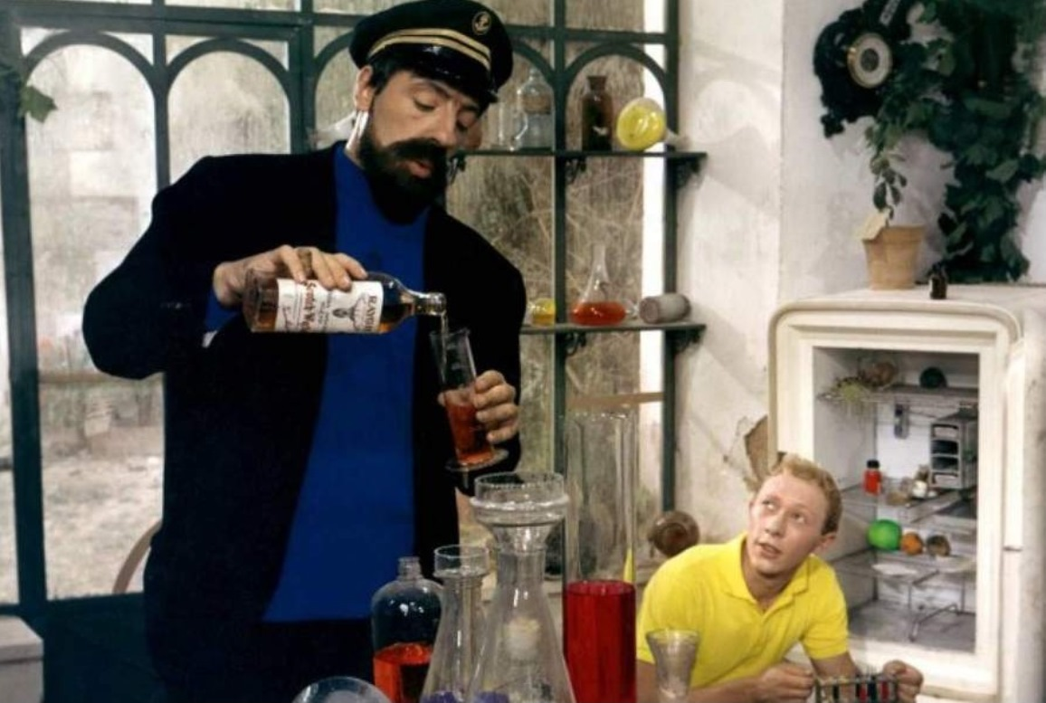 (l to r) Captain Haddock (Jean Bouise) and Tintin (Jean-Pierre Talbot) in Tintin and the Blue Oranges (1965)