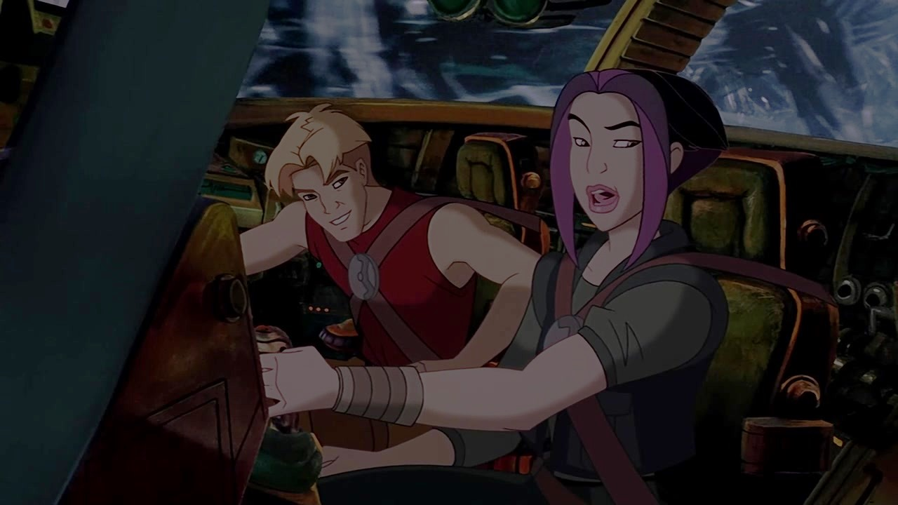 Cale Tucker (voiced by Matt Damon) and Akima (voiced by Drew Barrymore) in Titan A.E. (2000)