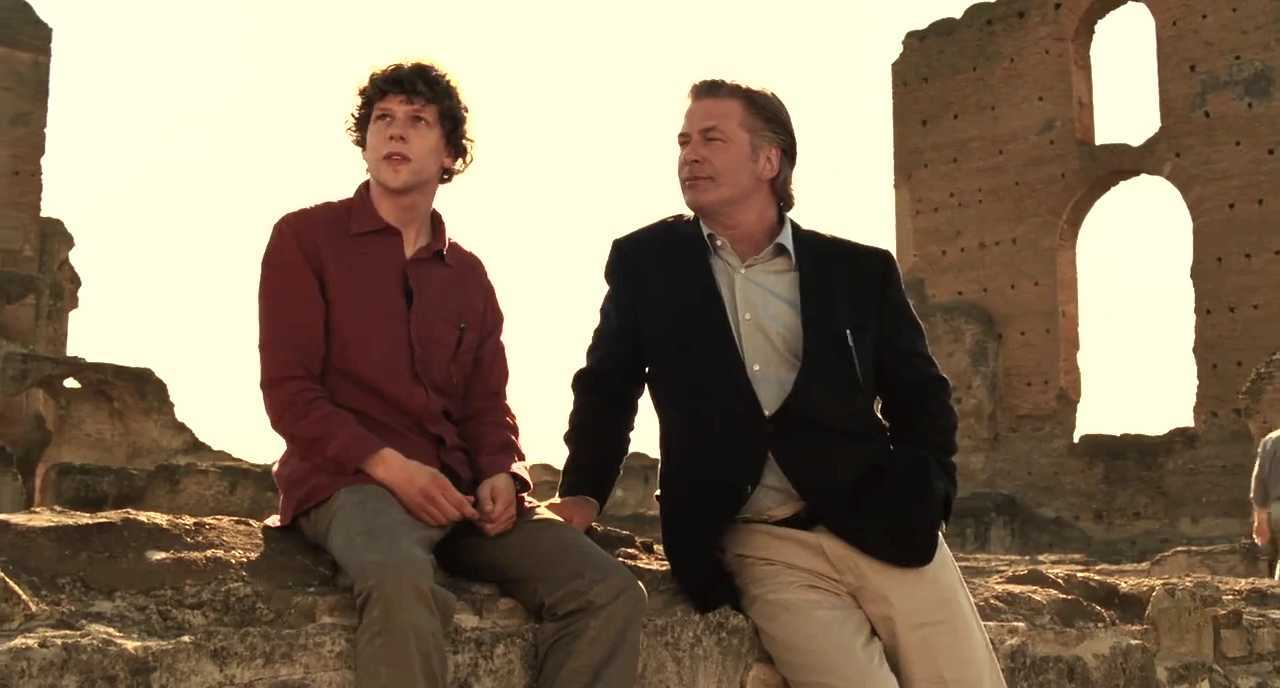 Jesse Eisenberg and invisible advisor Alec Baldwin in To Rome With Love (2012)