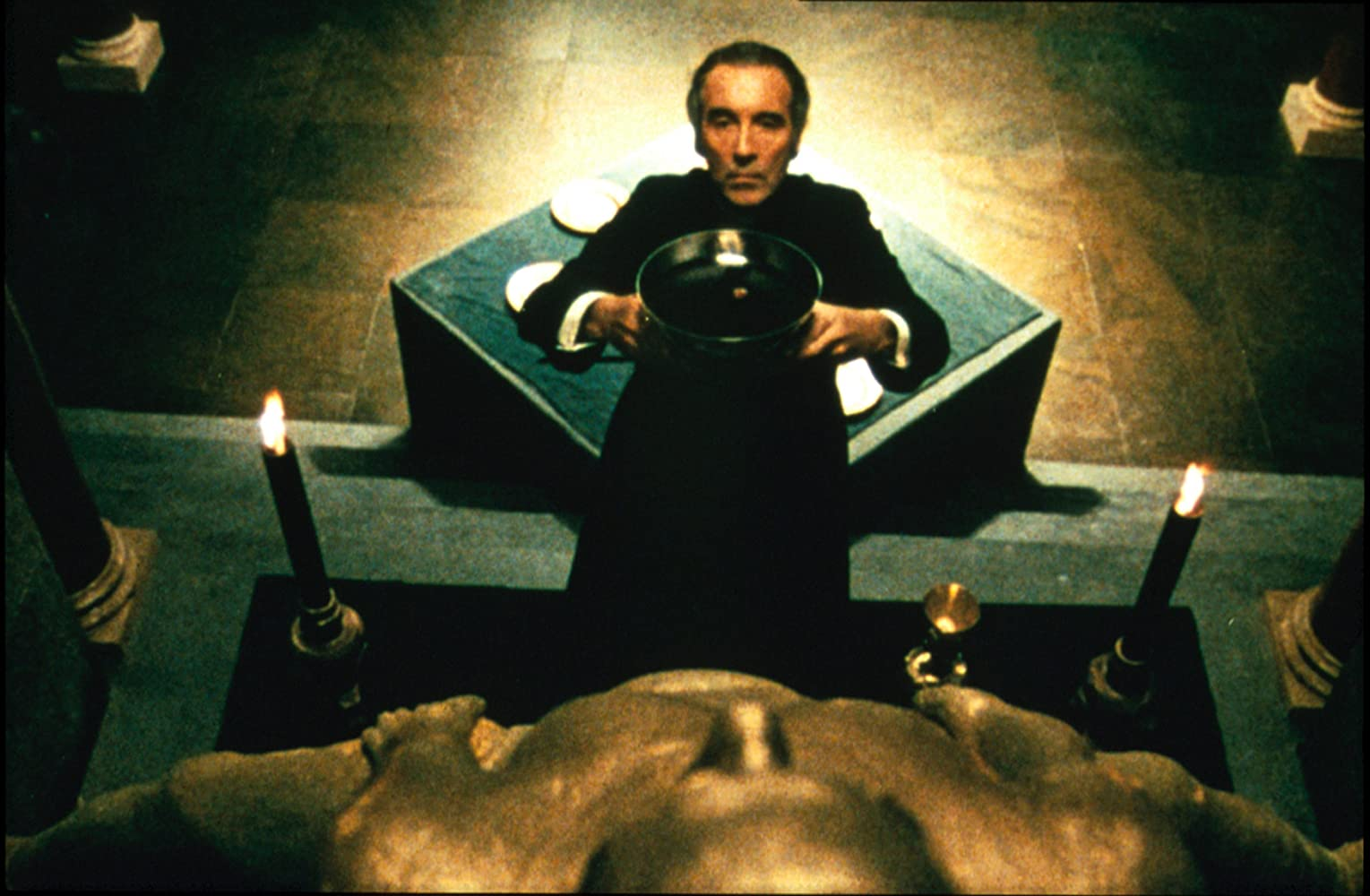 Christopher Lee conducts satanic rituals as Father Michael Rayner in To the Devil a Daughter (1976)