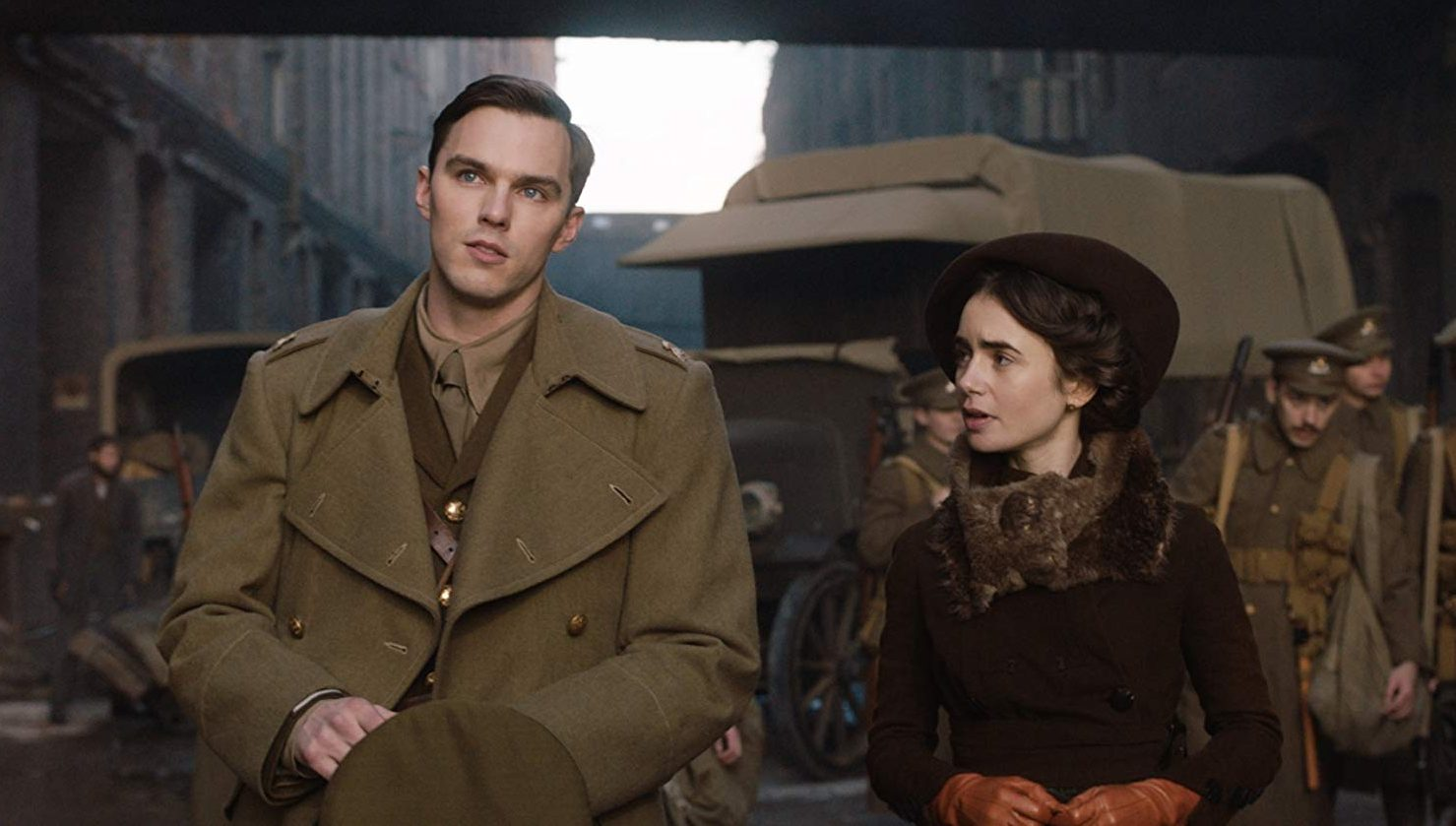 J.R.R. Tolkien (Nicholas Hoult) and his love Edith Bratt (Lily Collins) in Tolkien (2019)