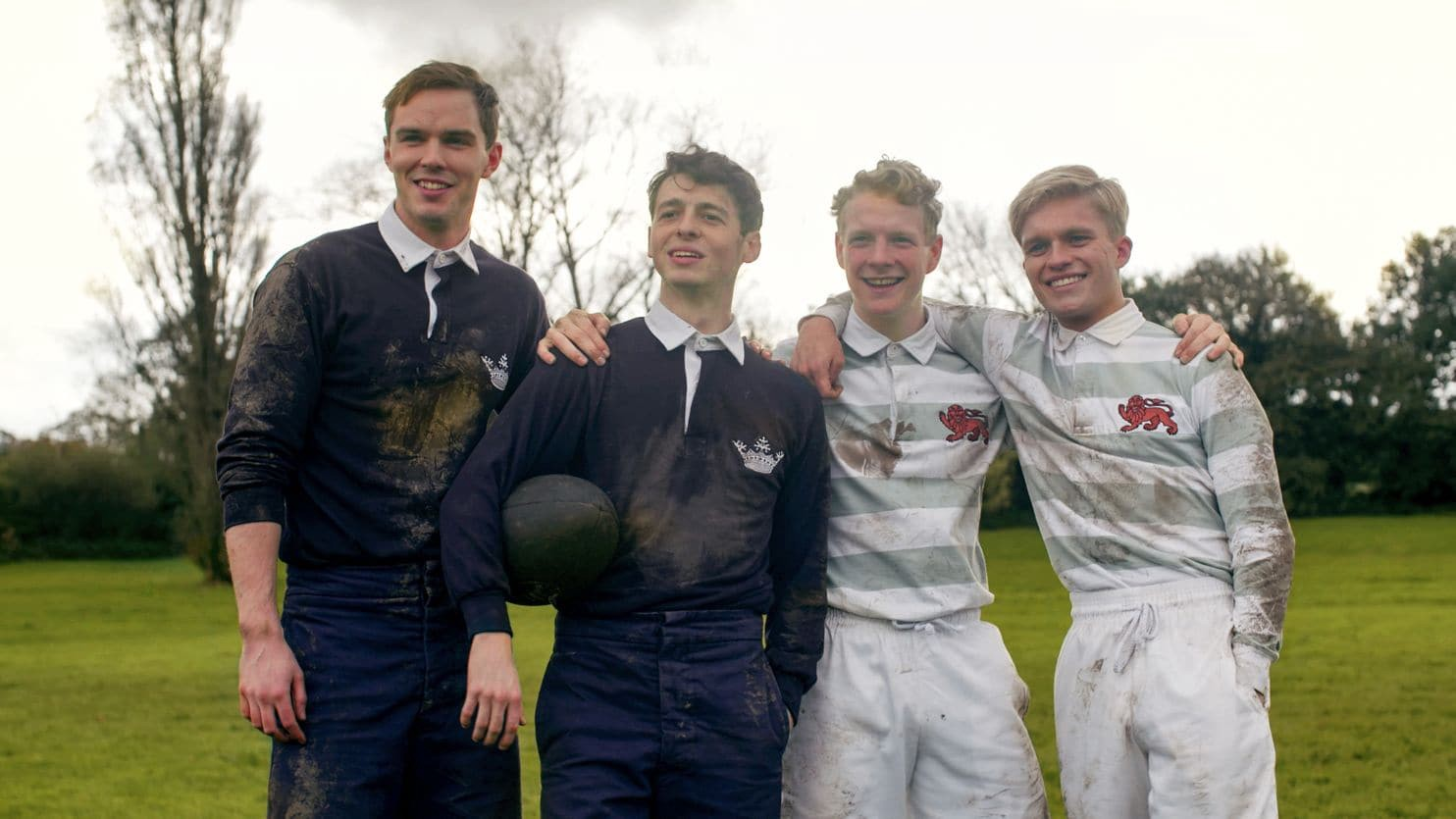 The members of the TCBS on the rugby field - (l to r) J.R.R. Tolkien (Nicholas Hoult), Geoffrey Smith (Anthony Boyle), Robert Gilson (Patrick Gibson) and Christopher Wiseman (Tom Glynn-Carney) in Tolkien (2019)