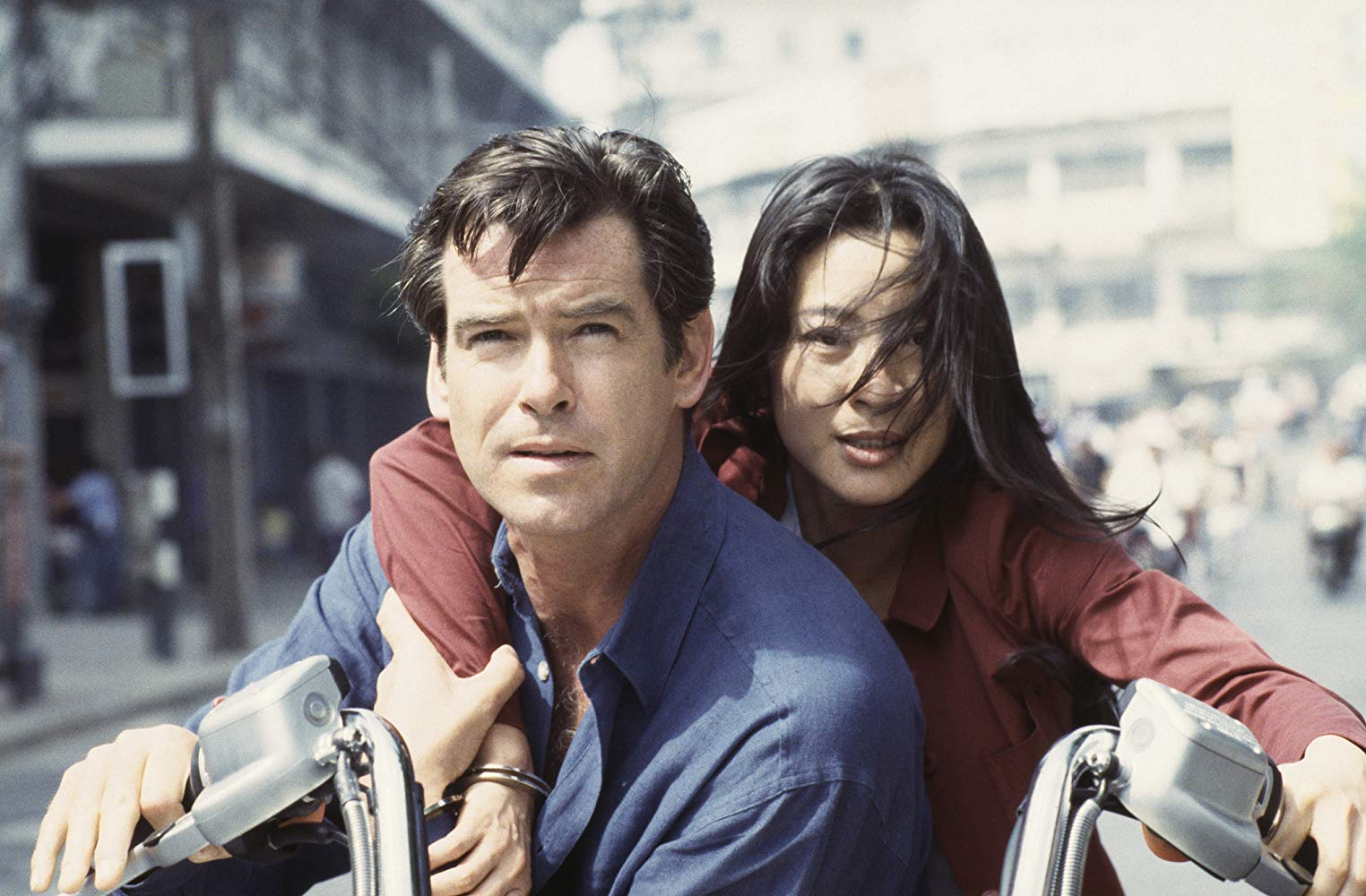 Pierce Brosnan as James Bond with Michelle Yeoh in Tomorrow Never Dies (1997)