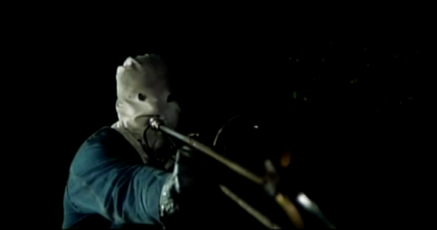 The Phantom Killer strikes - death by trombone in The Town That Dreaded Sundown (1976)
