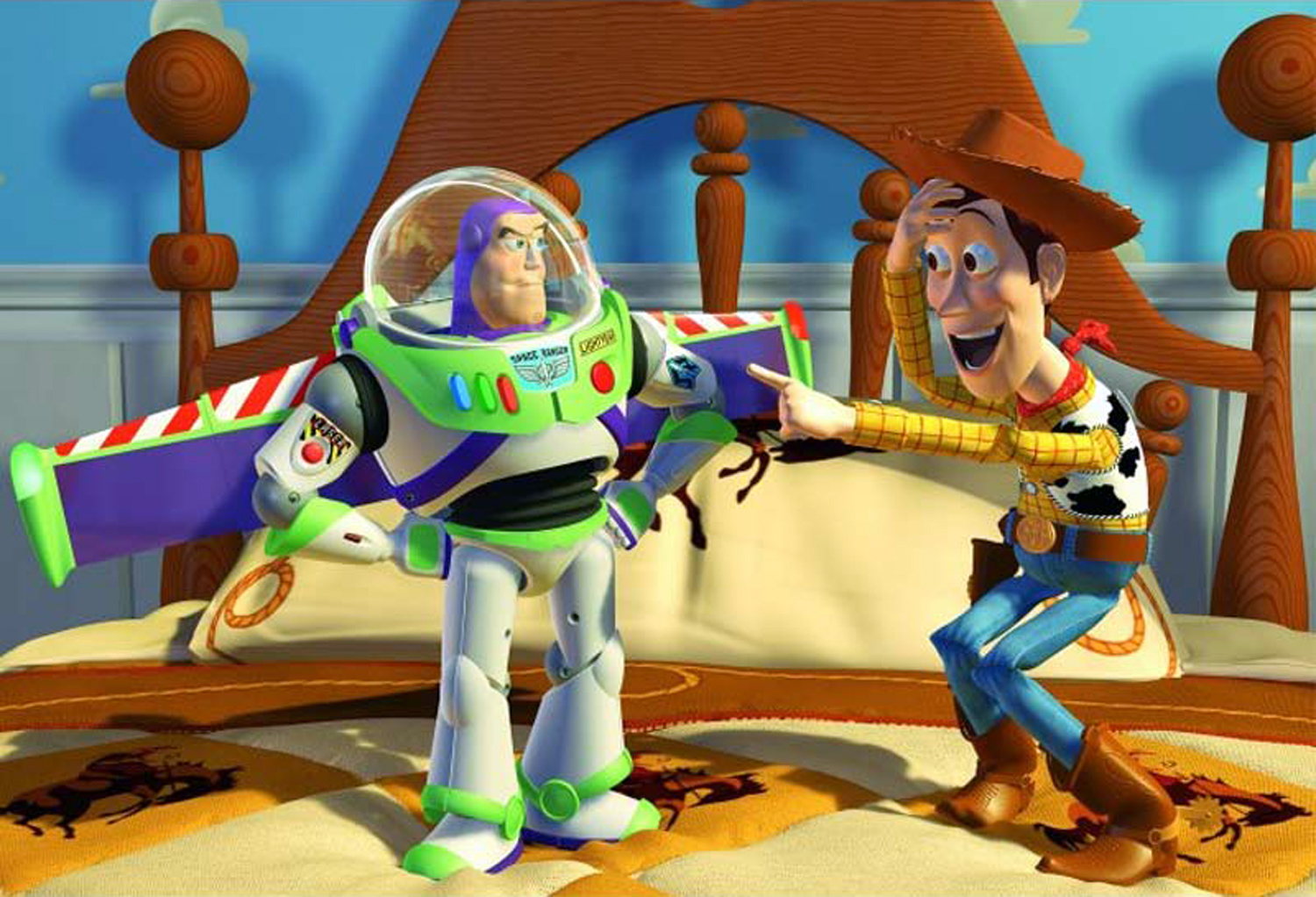 Buzz Lightyear (voiced by Tim Allen) and Woody (voiced by Tom Hanks) in Toy Story (1995)