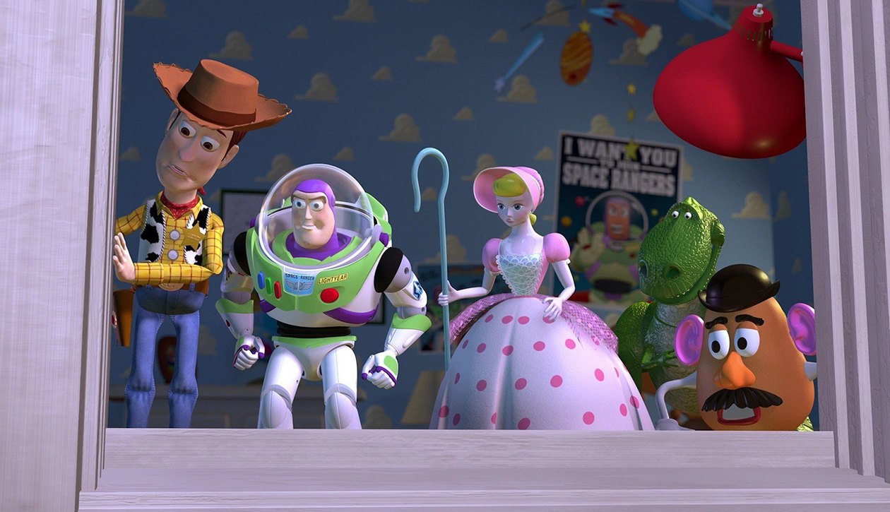 Woody, Buzz Lightyear, Little Bo Peep, Rex and Mr Potato Head in Toy Story (1995)