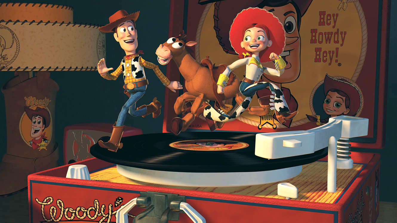 Woody brought together with Jessie and Bullseye the horse in Toy Story 2 (1999)