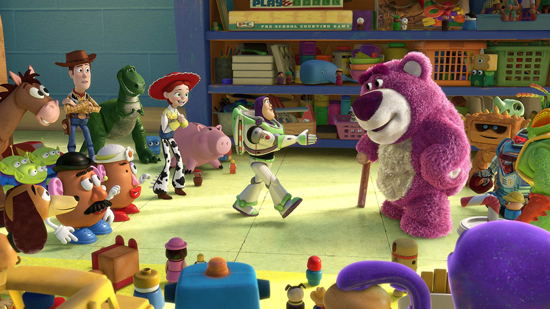 The toys are welcomed to the Sunnyside Daycare Centre by Lots-O'Huggin Bear (voiced by Ned Beatty) in Toy Story 3 (2010)