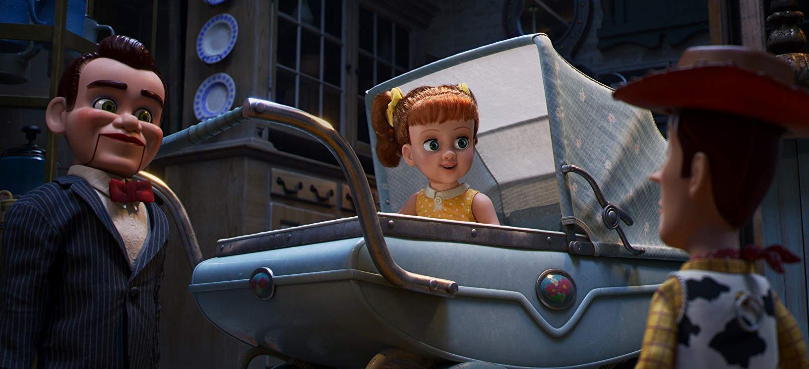 Woody (voiced by Tom Hanks) meets Gabby Gabby (voiced by Christina Hendricks) and one of the ventriloquist's dummies (voiced by Steve Purcell) in Toy Story 4 (2019)