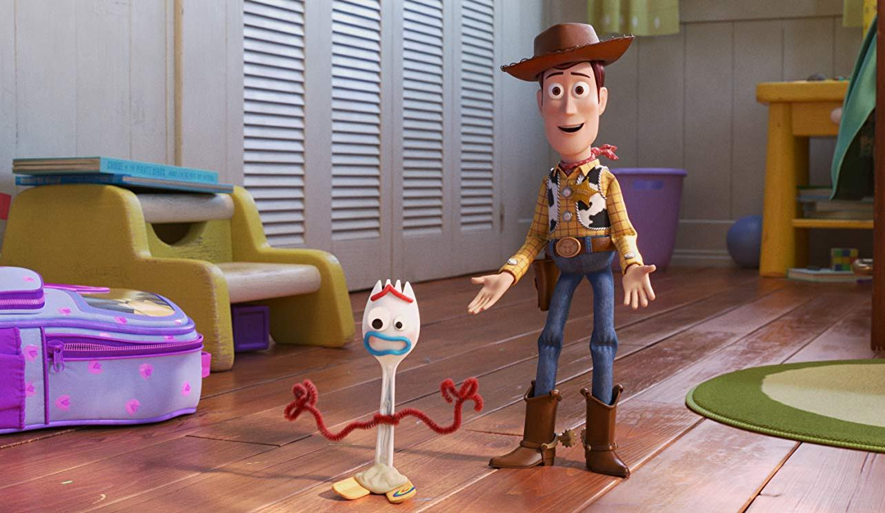 Woody (voiced by Tom Hanks) and Forky (voiced by Tony Hale) in Toy Story 4 (2019)