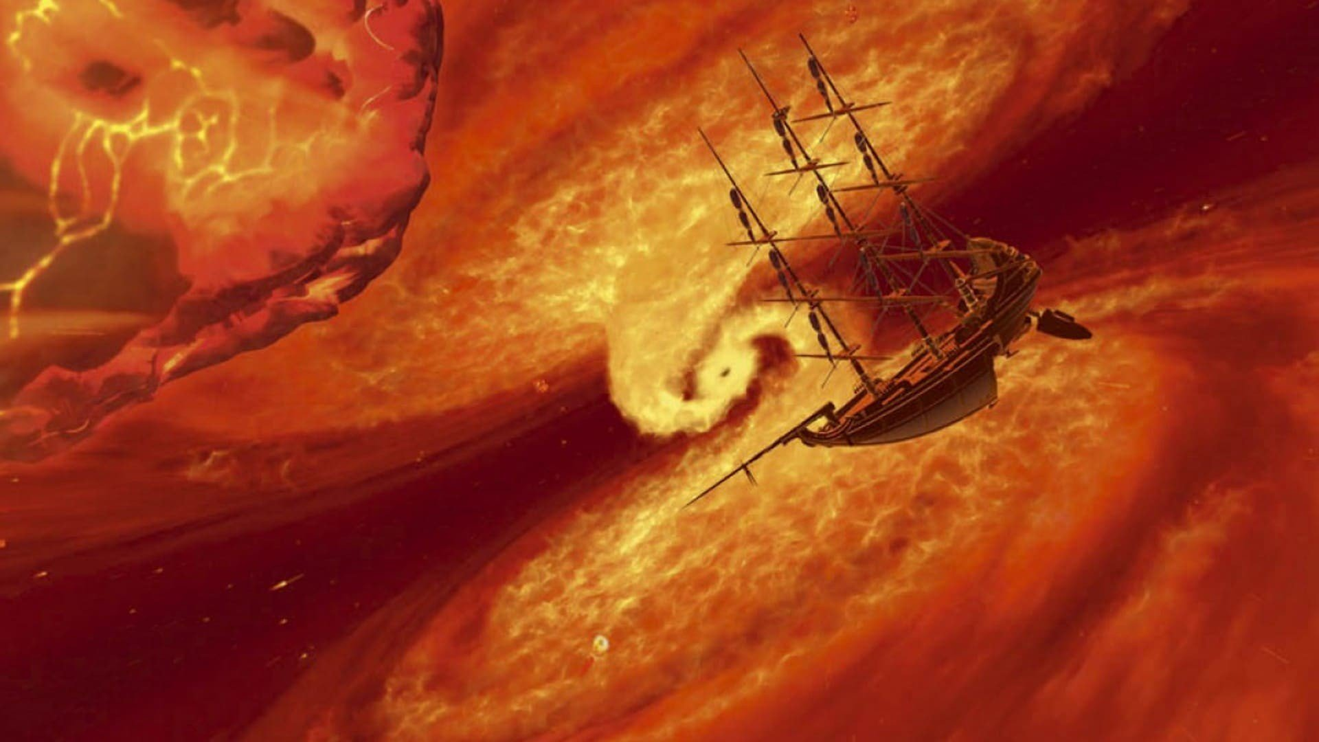Sailing ships in space in Treasure Planet (2002) - a transliteration of Treasure Island in space that only makes for bad science-fiction