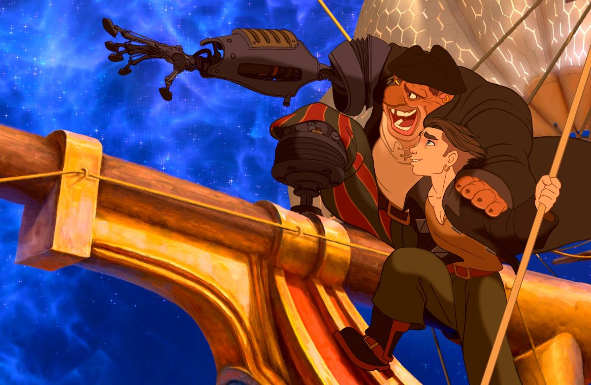 Jim Hawkins (voiced by Joseph Gordon-Levitt) and Long John Silver now with cyborg attachments (voiced by Brian Murray) in Treasure Planet (2002)