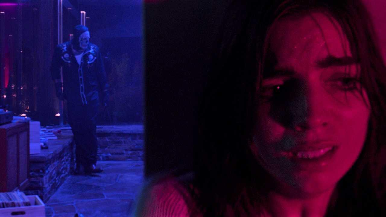 Angela Trimbur hides from a masked intruder in Trespassers (2018)