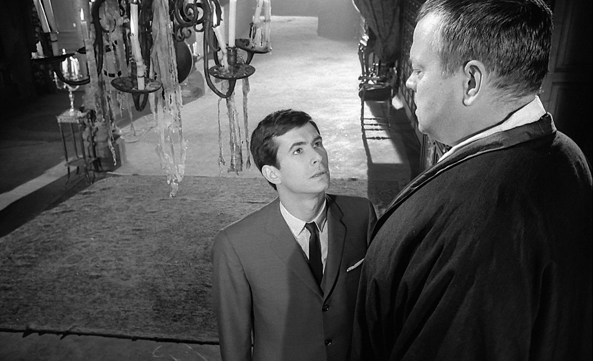 Joseph K (Anthony Perkins) meets The Advocate (Orson Welles, also the film's director/writer) in The Trial (1962)