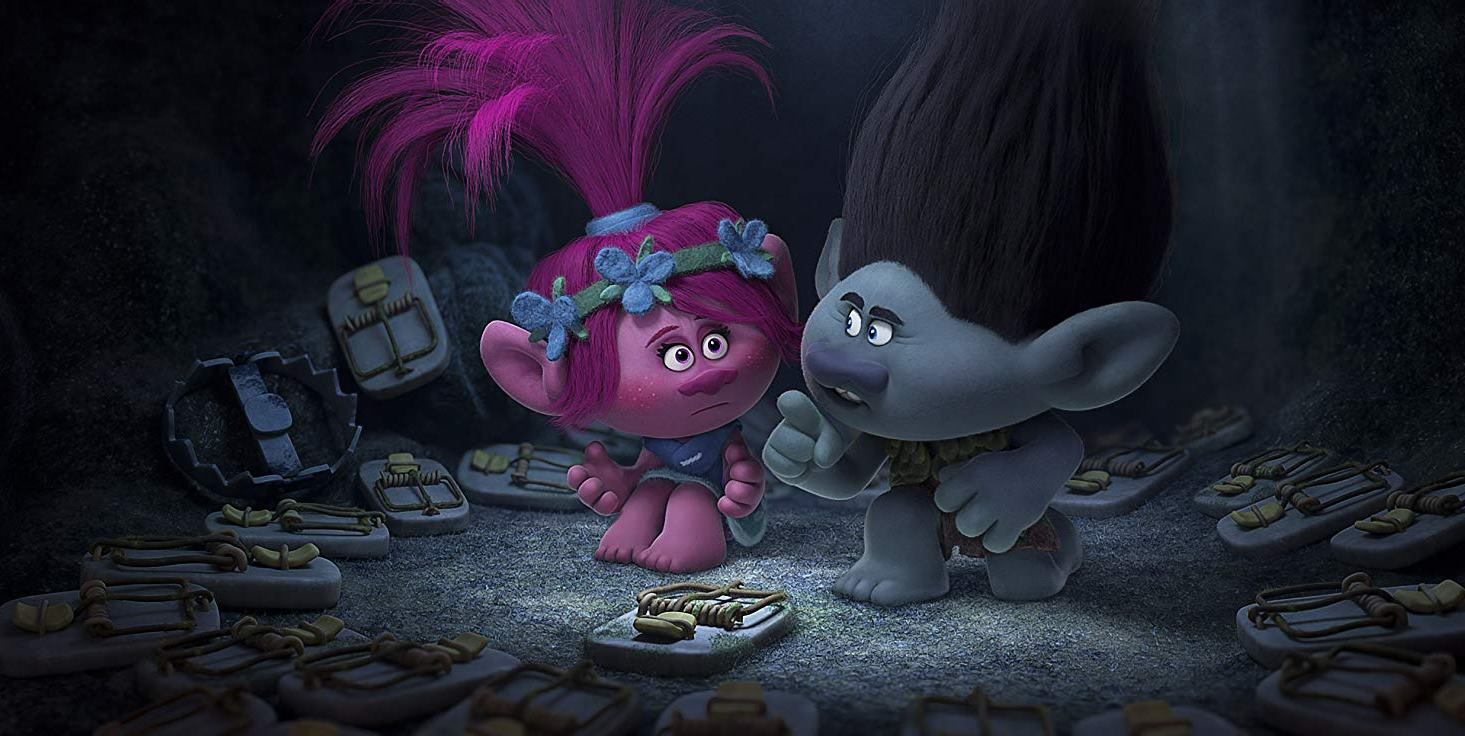 Poppy (voiced by Anna Kendrick) and Branch (voiced by Justin Timberlake) in Trolls (2016)