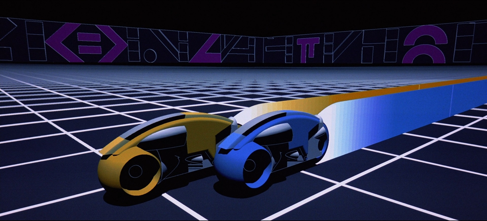 Lightcycle race in Tron (1982)