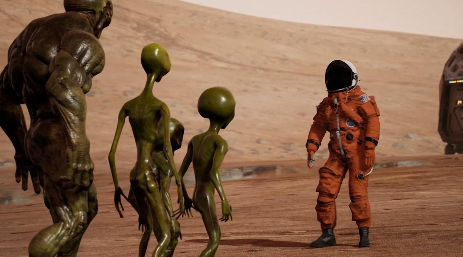 The clone of donald Trump greets The Atlanteans on Mars in Trump vs The Illuminati (2020)