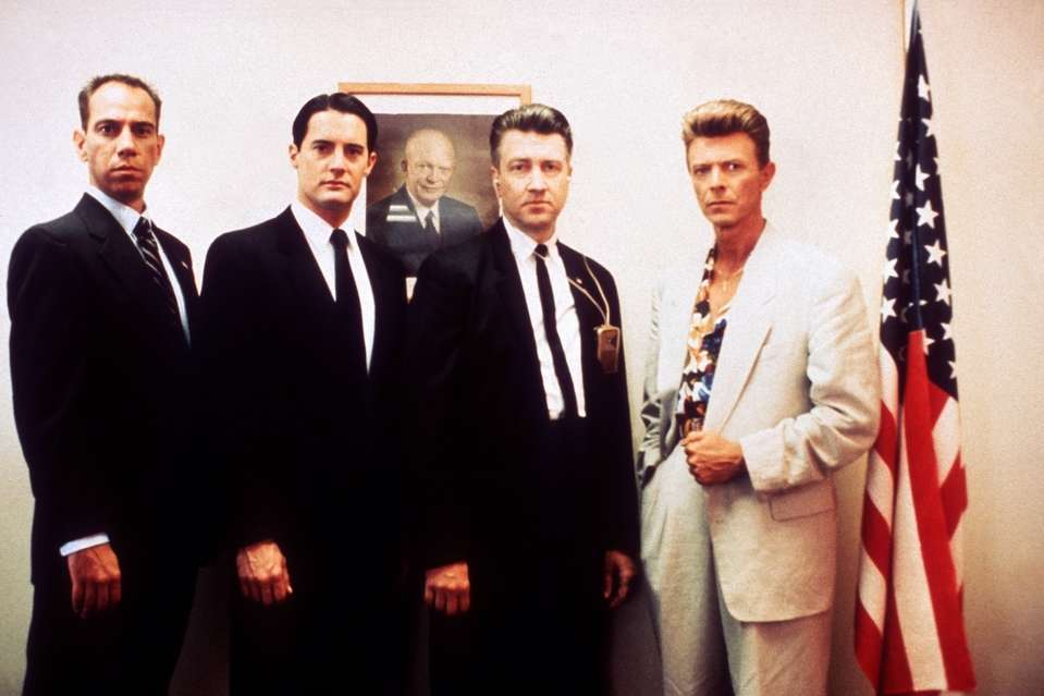 FBI line-up - (l to r) Albert Rosenfeld (Miguel Ferrer), Dale Cooper (Kyle MacLachlan), Gordon Cole (director David Lynch) and Philip Jeffries (David Bowie) in Twin Peaks: Fire Walk With Me (1992)