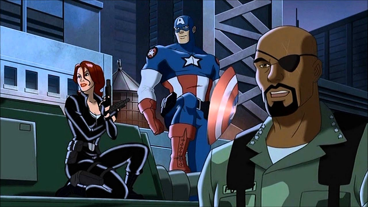 Avengers line-up - (l to r) Black Widow, Captain America and Nick Fury in Ultimate Avengers (2006)
