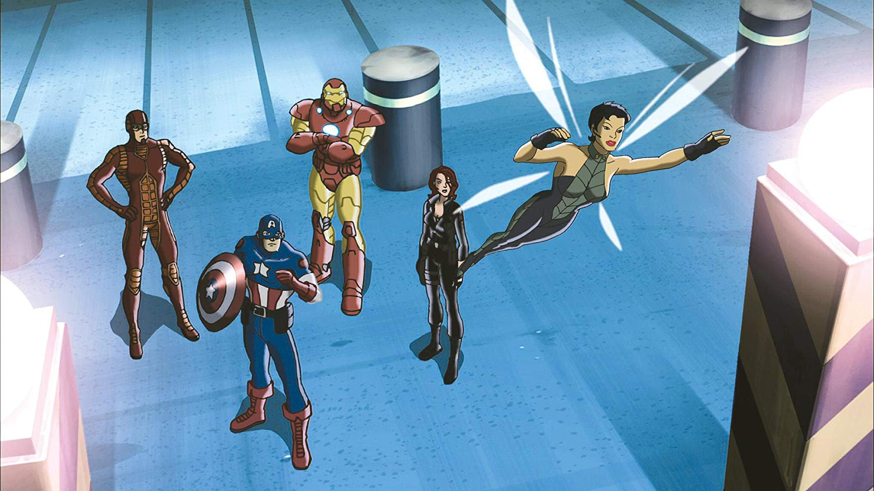 Avengers line-up - (l to r) Ant Man, Captain America, Iron Man, Black Widow and The Wasp in Ultimate Avengers (2006)