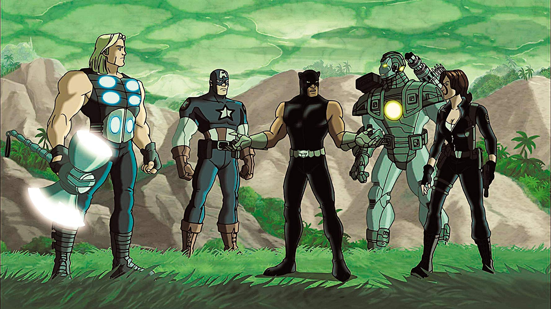 Avengers line-up - (l to r) Thor, Captain America, Black Panther, Iron Man and Black Widow in Ultimate Avengers II (2006)