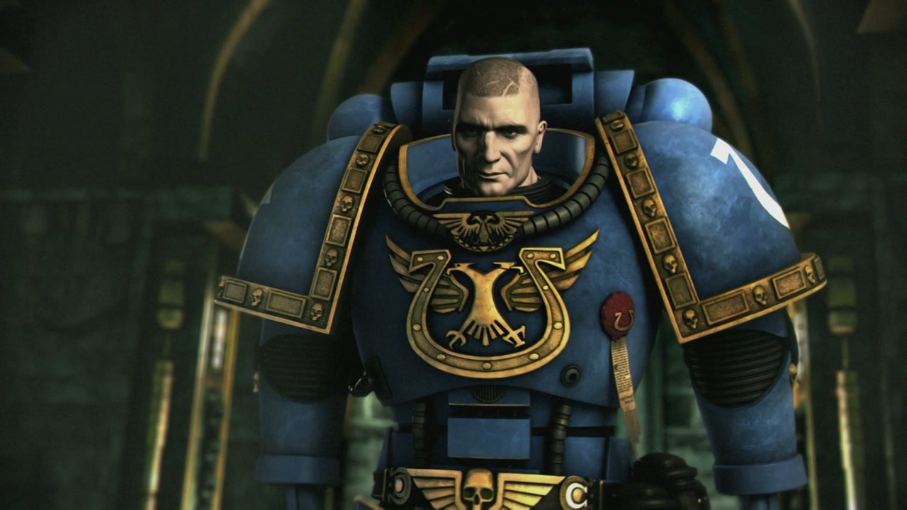 Ultramarine mission commander Captain Severus (voiced by Terence Stamp) in Ultramarines (2010)
