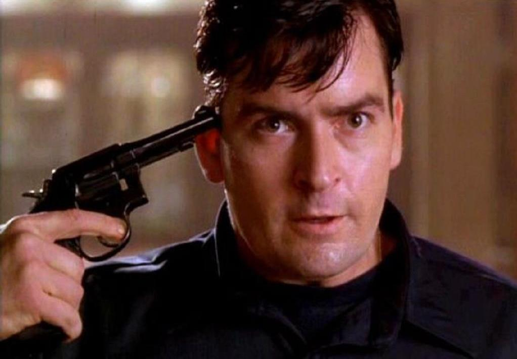 Charlie Sheen in his first psycho role as a fireman who snaps under the pressures of everyday life in Under Pressure (1997)