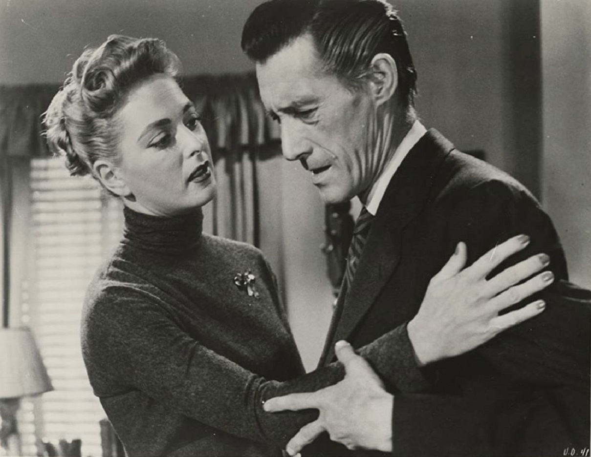 Allison Hayes and mad scientists John Carradine in The Unearthly (1957)