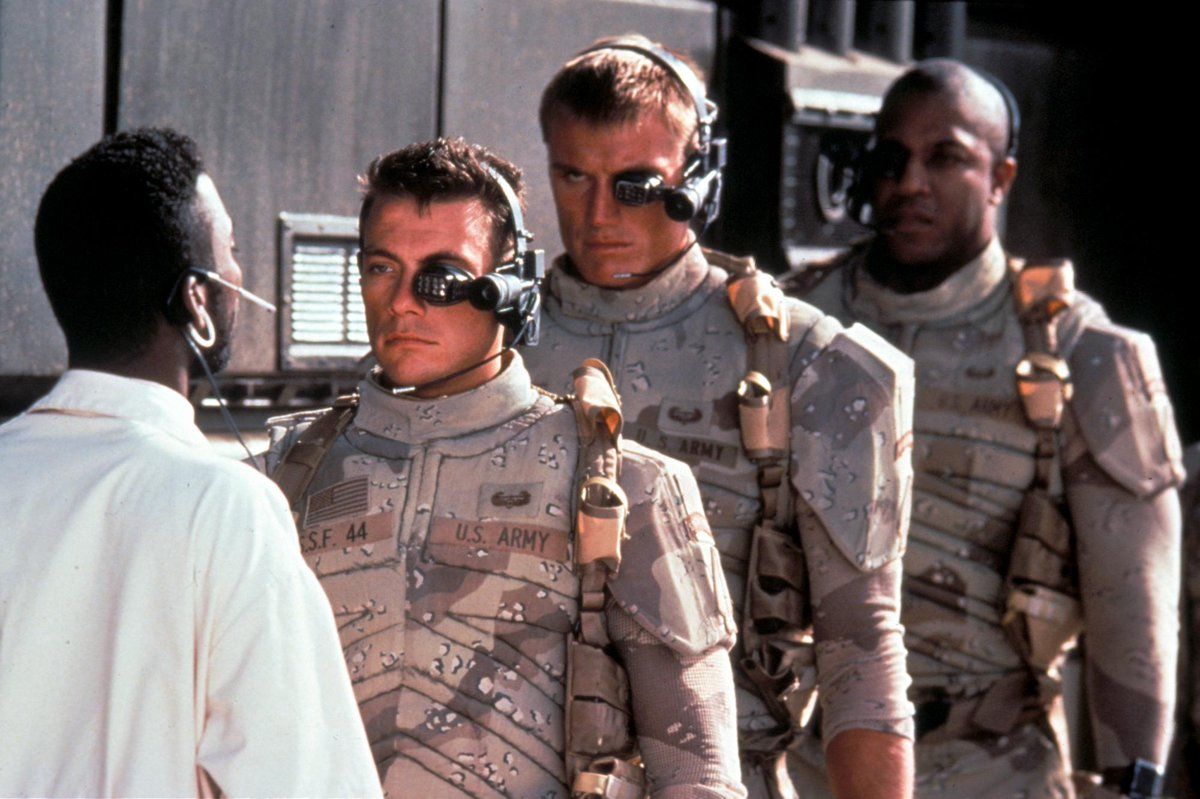 Universal Soldiers - (l to r) Jean-Claude Van Damme, Dolph Lundgren and Tom 'Tiny' Lister, Jr in Universal Soldier (1992)