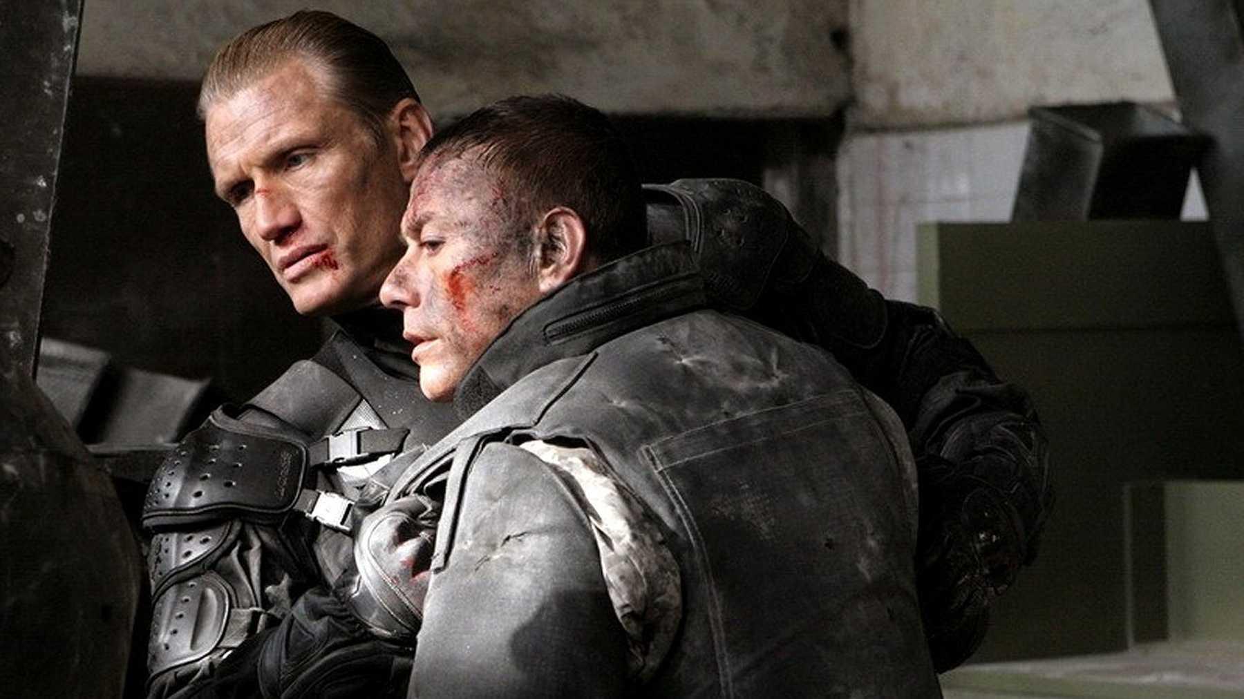Andrew Scott (Dolph Lundgren) and Luc Devereaux (Jean-Claude Van Damme) reunited in Universal Soldier: Regeneration (2009)