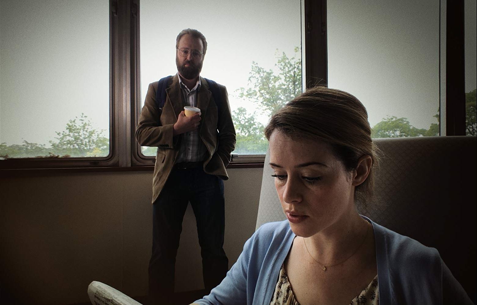 Claire Foy and her stalker Joshua Leonard in Unsane (2018)