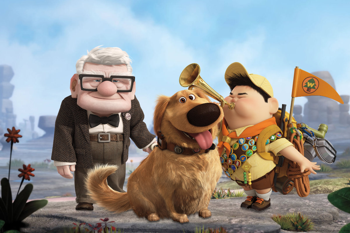 Carl (voiced by Ed Asner), Dug the dog (voiced by Bob Peterson) and the boy scout Russell (voiced by Jordan Nagai) in Up! (2009)