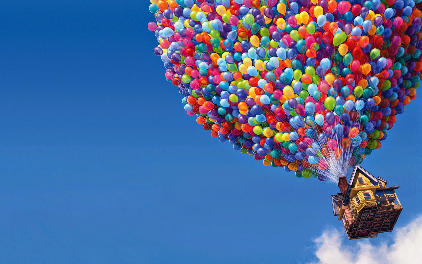 Carl flies away with helium balloons attached to his house in Up! (2009)