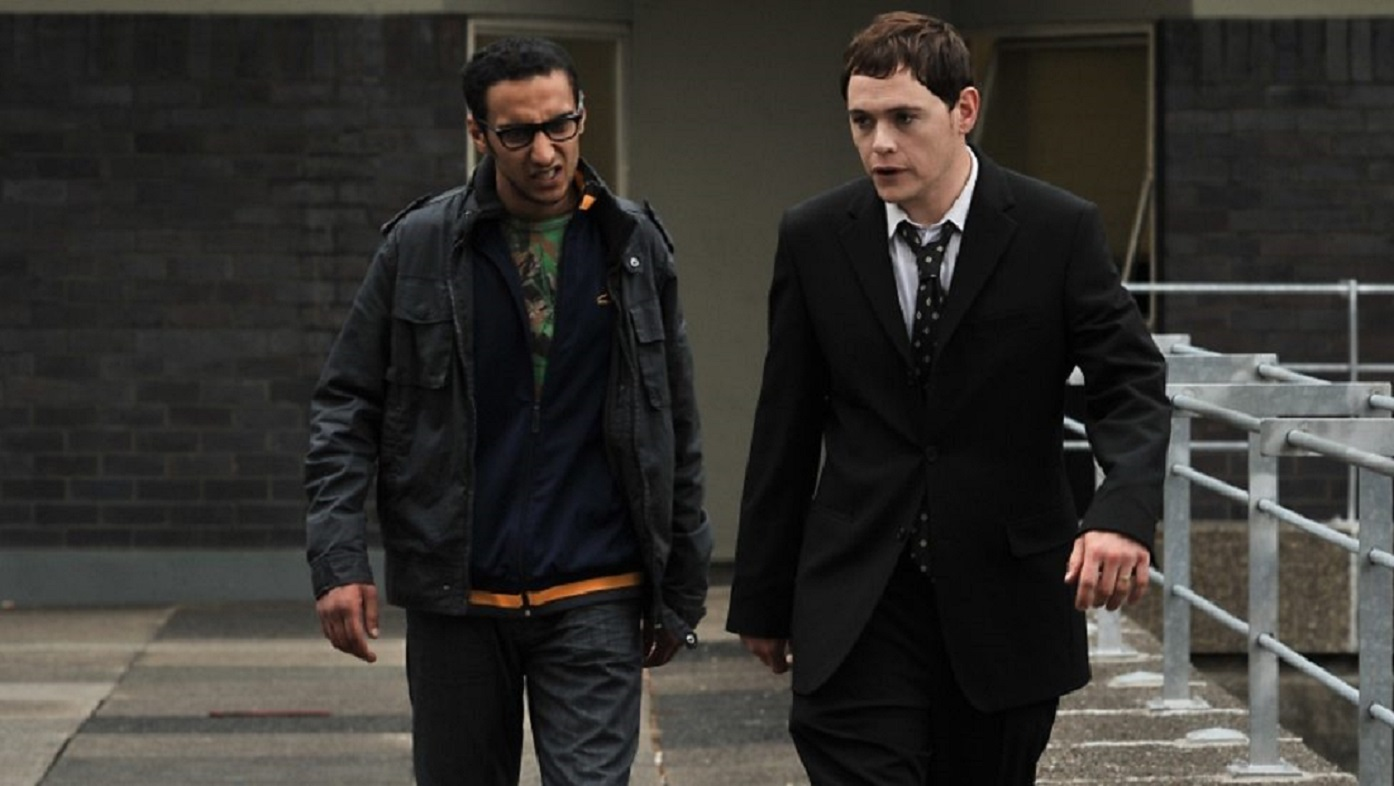 Recently deceased Martin (Burn Gorman) and his annoying ward Rash (Aymen Hamdouchi) in Up There (2012)