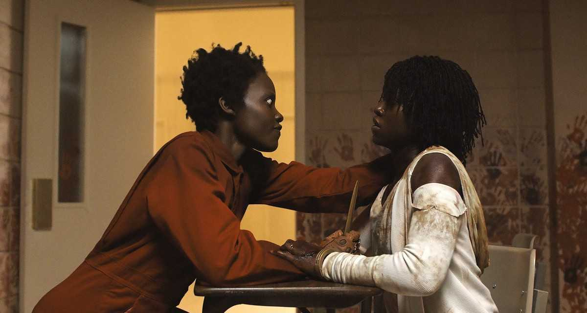 Lupita Nyong'o as (l to r) her Tether known as Red and aboveground self Adelaide Wilson in Us (2019)
