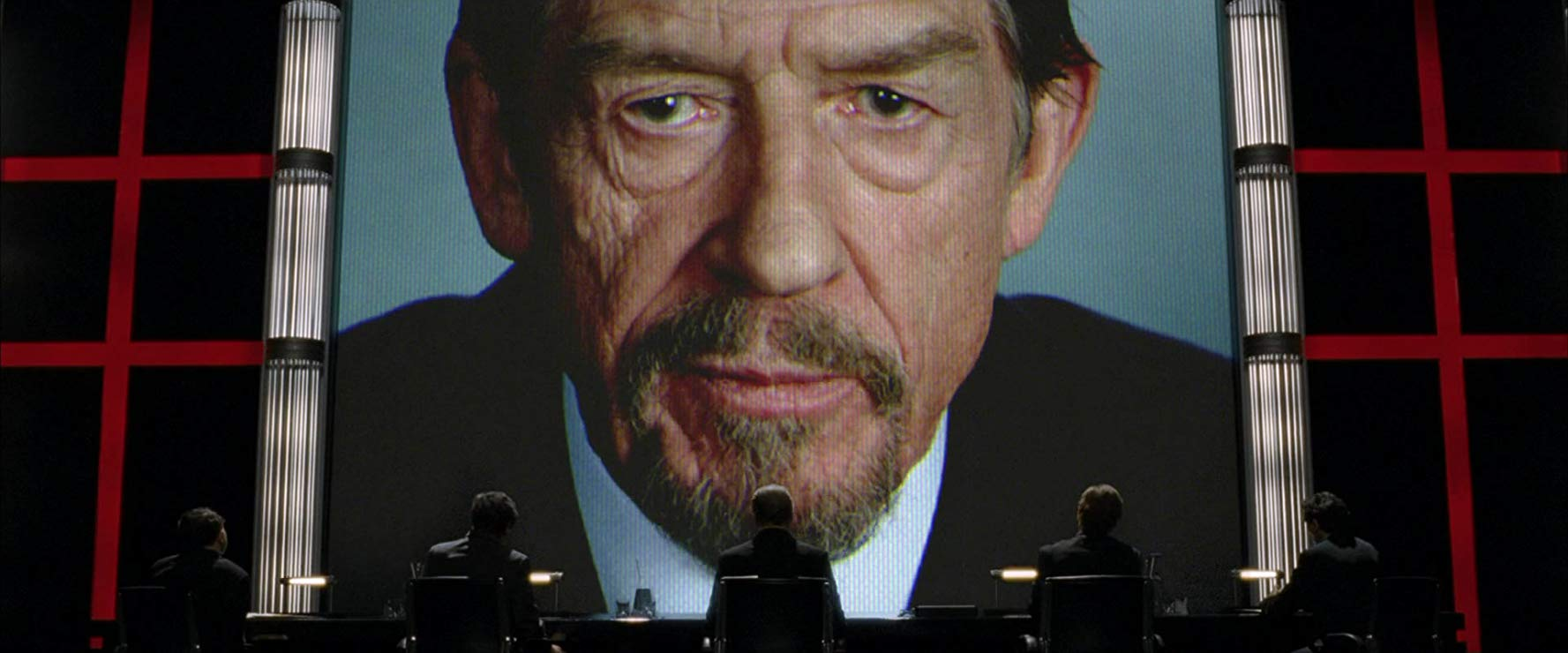 John Hurt as Adam Sutler, the dictator of England in V for Vendetta (2006)