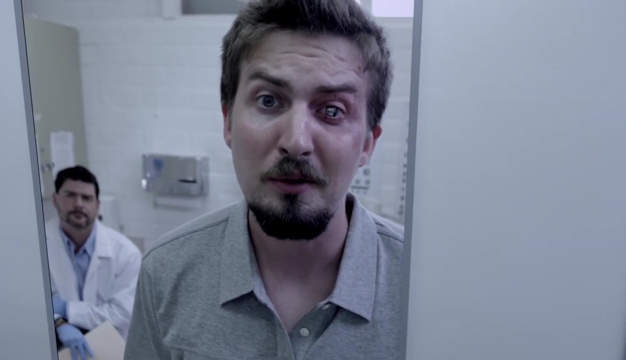 Adam Wingard, the director and star of the Phase I Clinical Trials, gets a camera implanted in his eye in V/H/S/2 (2013)
