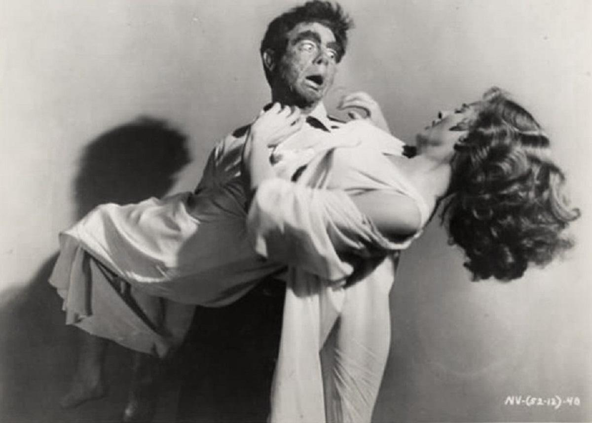Vampire monster Dr Paul Beecher (John Beel) carries away Coleen Gray in The Vampire (1957)